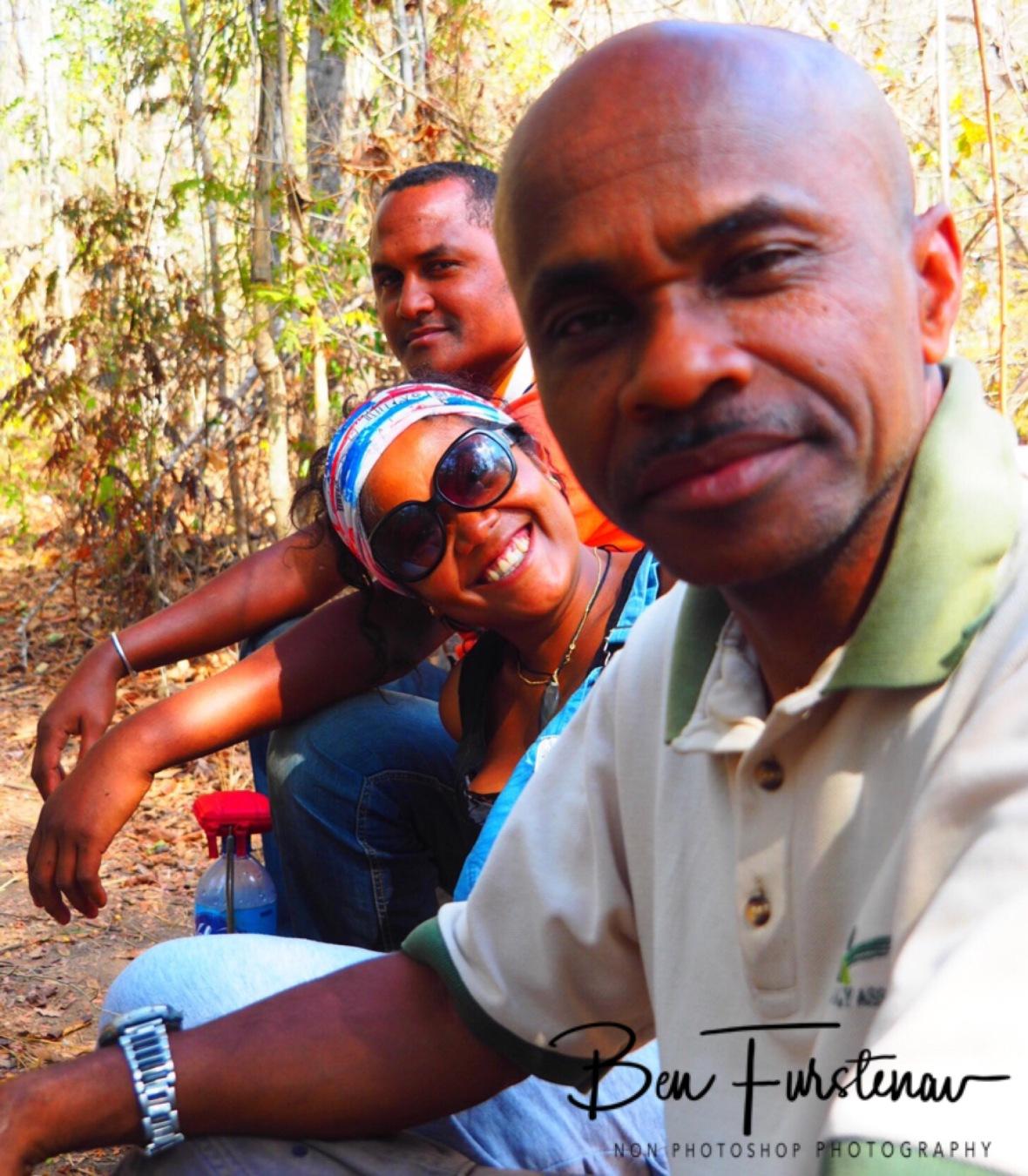 A peaceful break with Ninah Clara, and local tour guide Jean Claude Baptiste