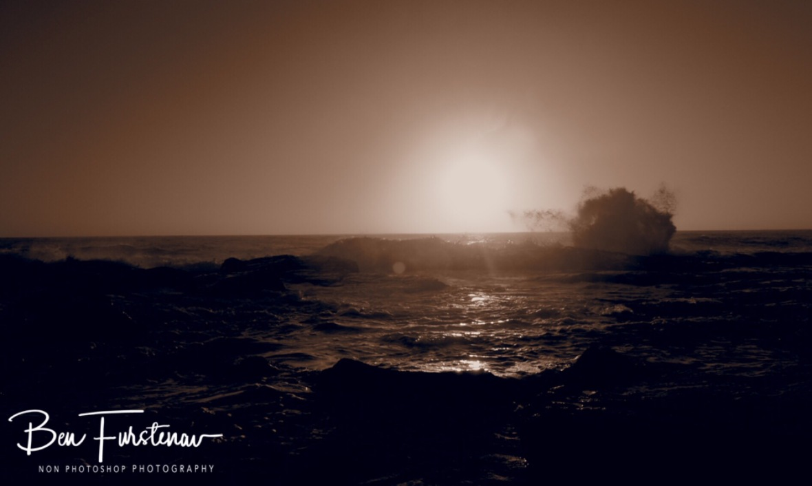 Sunset over rough ocean, Namaqua National Park