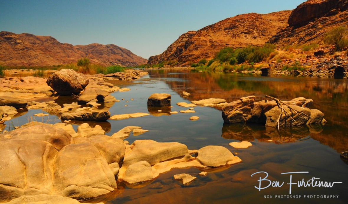 Rocky and calm riverbed, Oranje River