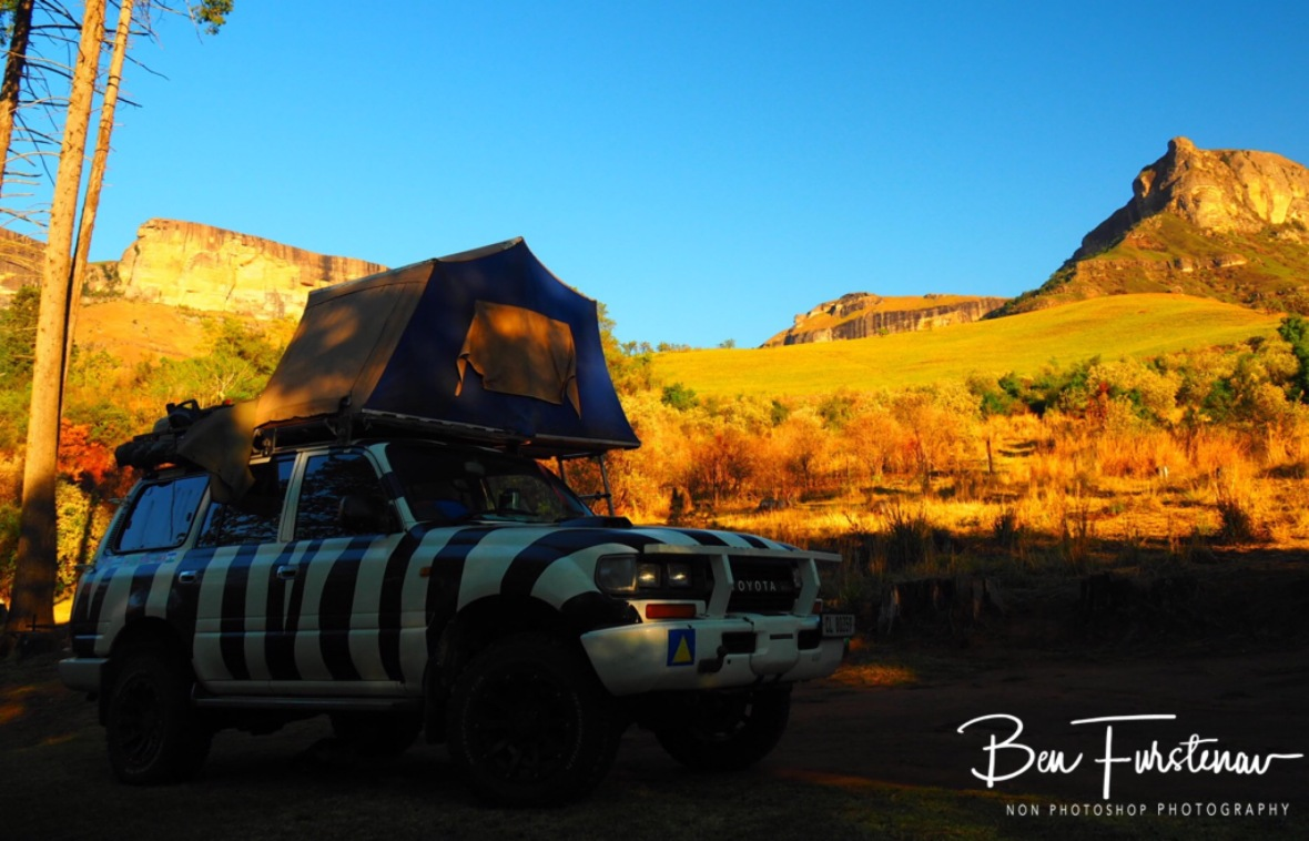 Camping on the foothills of the Drakenberg Mountains