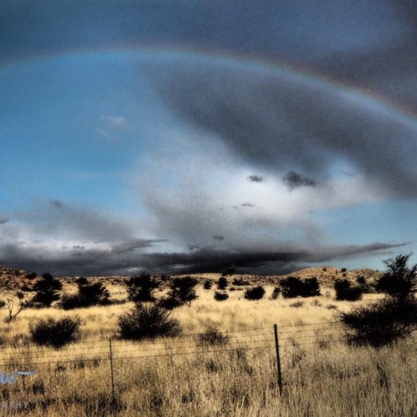 Spectacular rainbow over the arid Kalahari desert, Kgalagadi Transfrontier Park