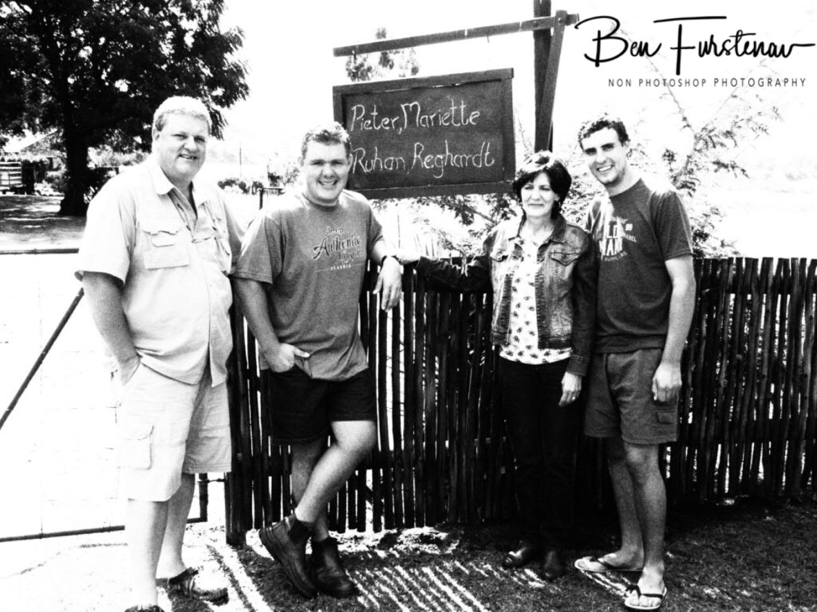 The Adendorff family in front of the entrance gate, Newcastle