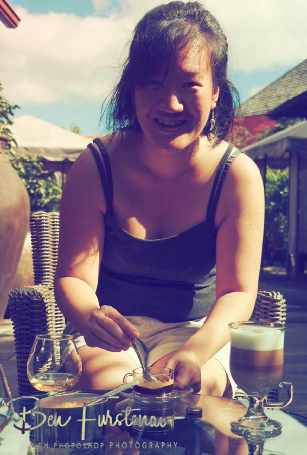 Veronique enjoying a coffee at Rhumerie de Charmaral.