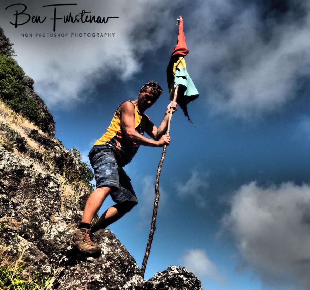 Mauritian flagpole selfie, Troix Mamelles