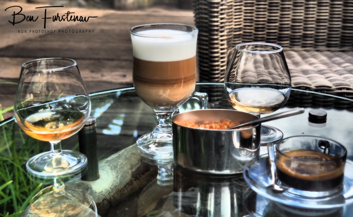 Coffee and flavoured rhum at Rhumerie de Charmarel.