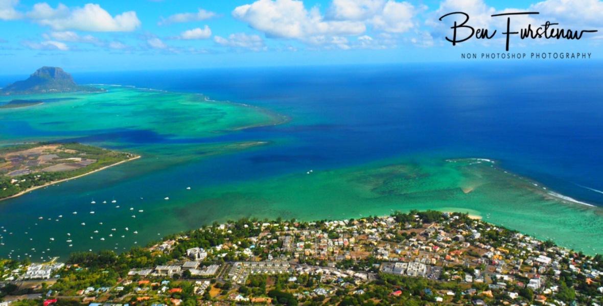 View over Tamarin village and surrounding reef, Tamarin Mountain
