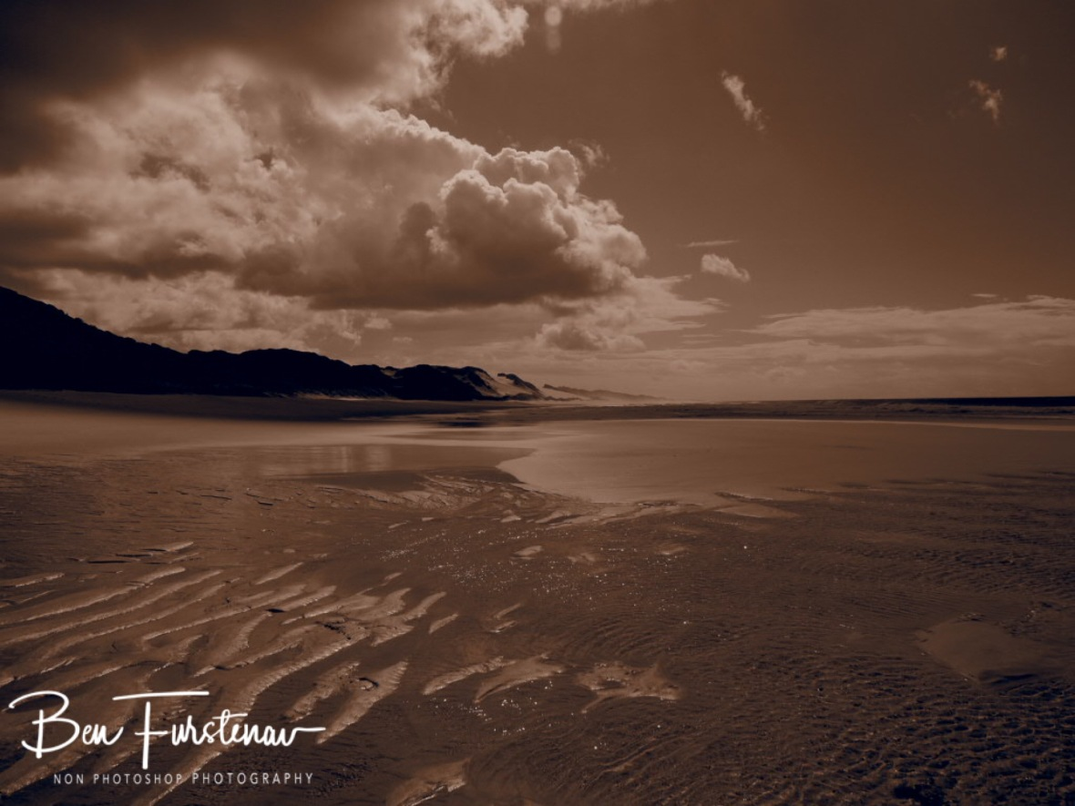 Endless beach in sepia, Machangulo Peninsula