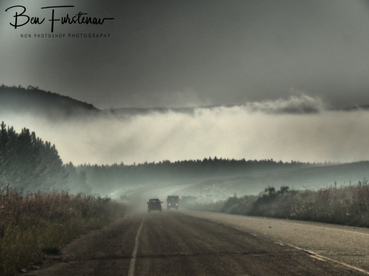 Foggy conditions on treacherous roads, Northern Drakenberg