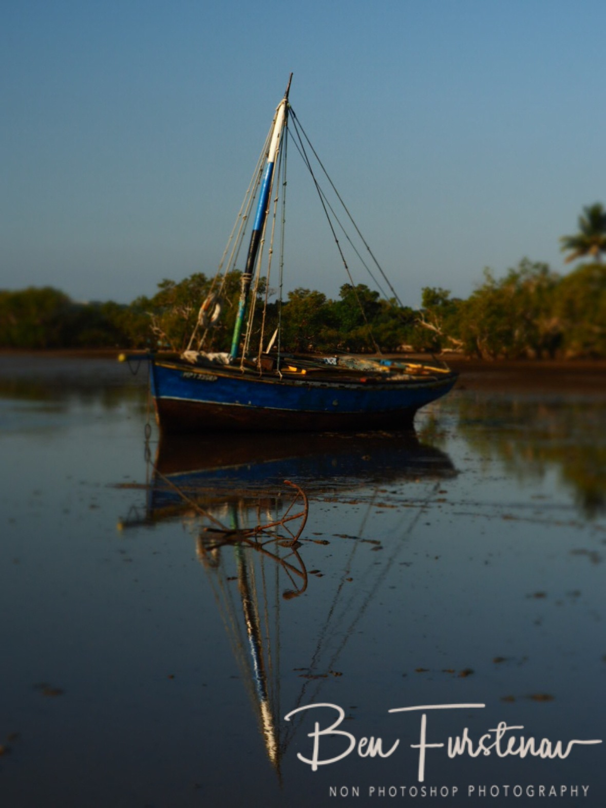 Dhow reflections at Santa Maria harbour, Santa Maria, Machangulo Peninsula