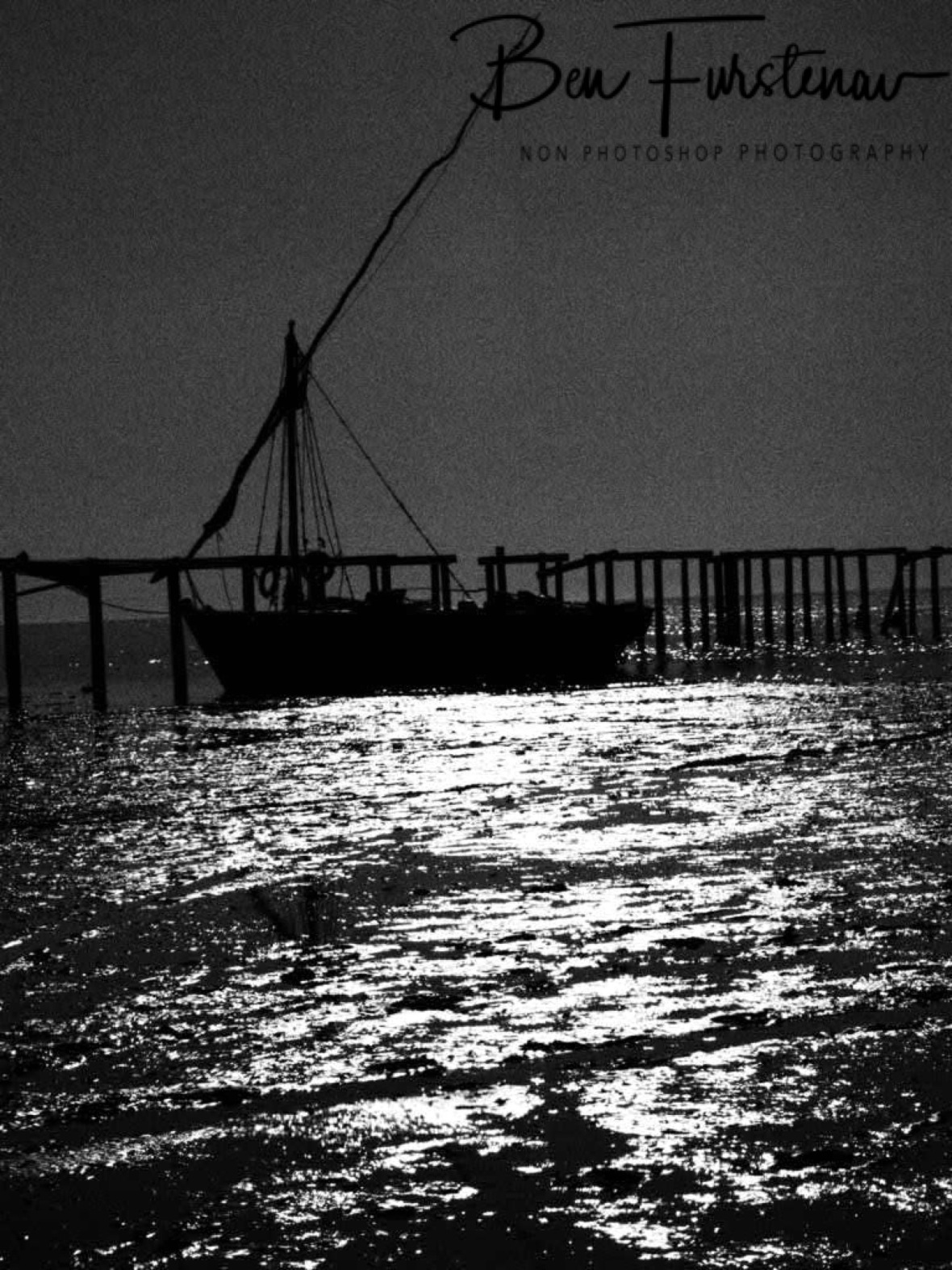 Dhow in shallow waters, Black and white, Santa Maria, Machangulo Peninsula
