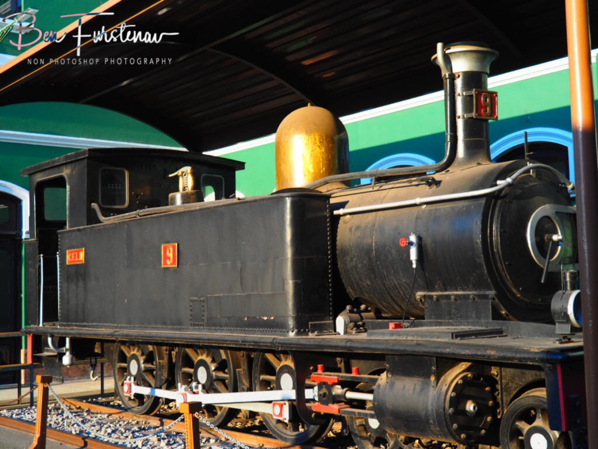 Steamtrain of old,shiny as gold, Maputo, Mozambique