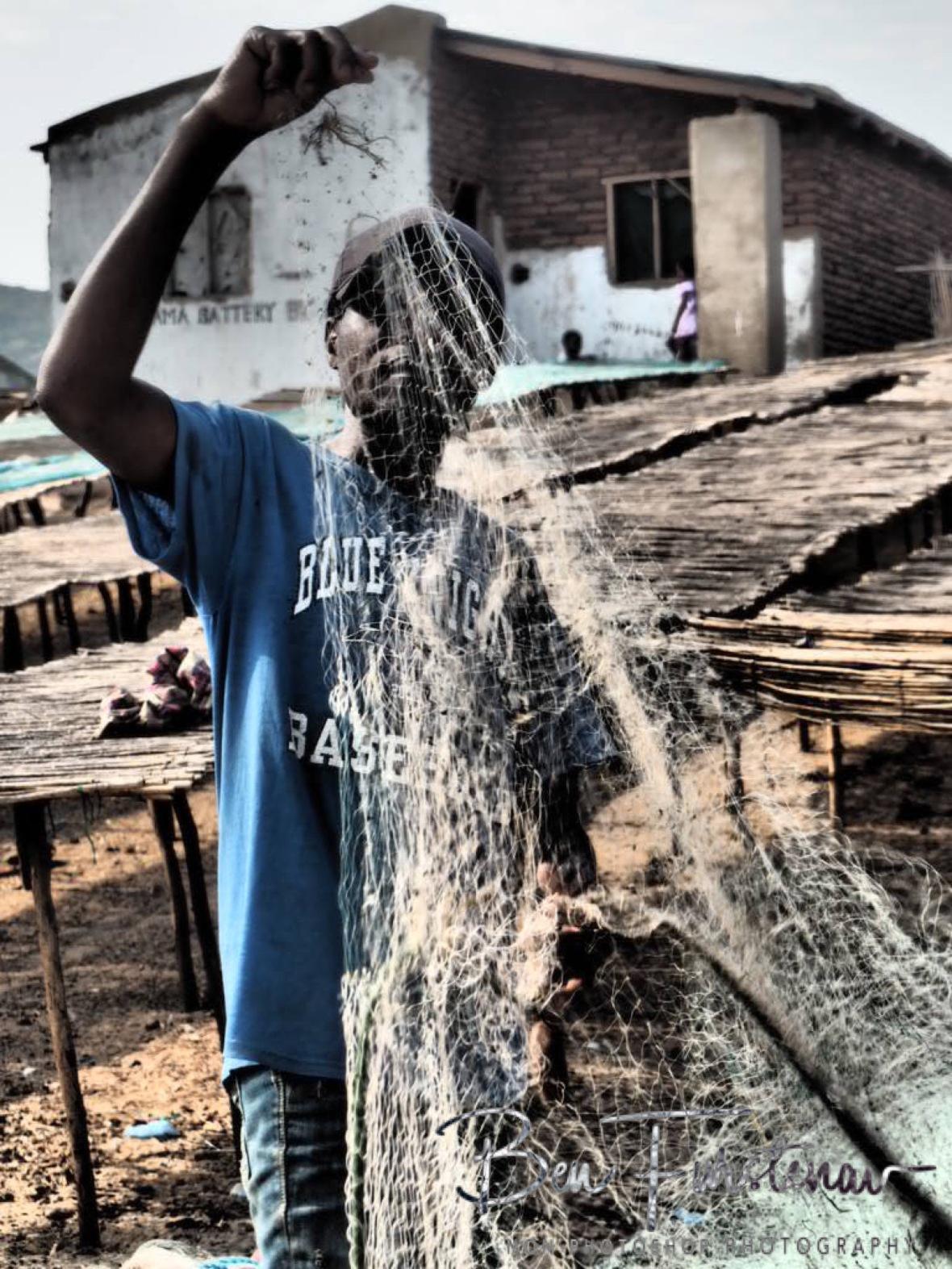 Net fishermen at Cape Maclear, Chembe, Lake Malawi, Malawi