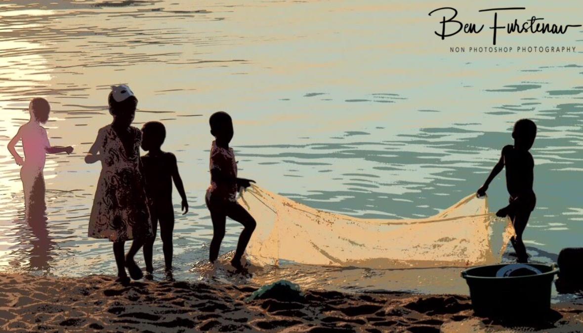 Kids, water and sun in Chembe, Cape Maclear, Lake Malawi, Malawi