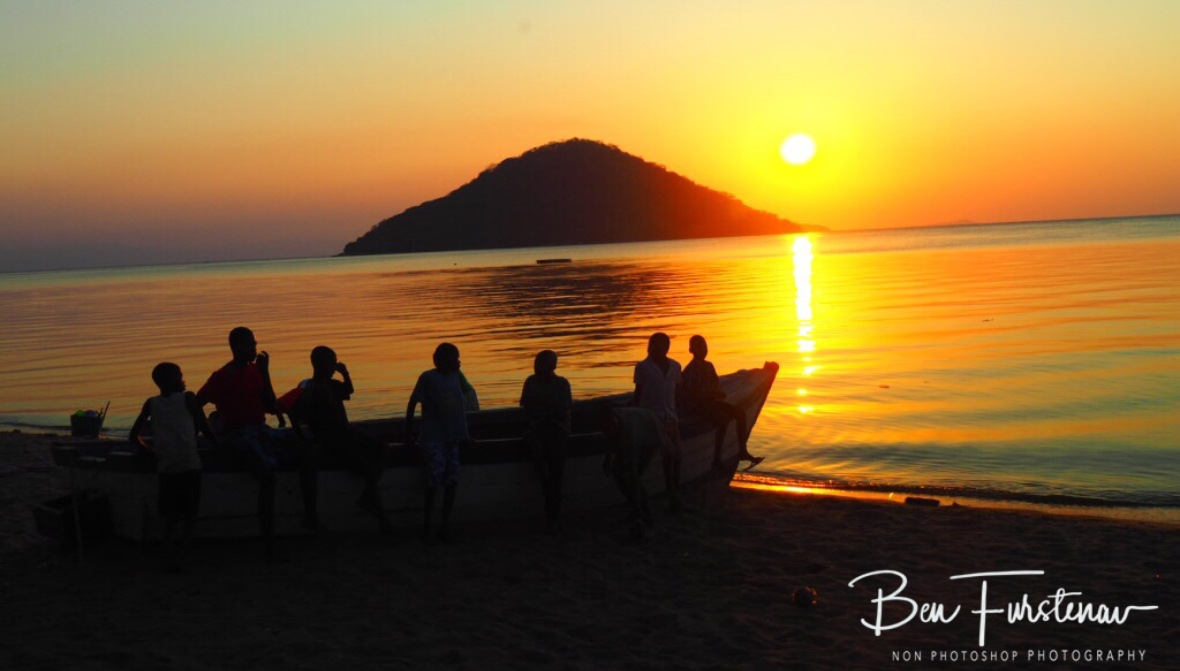 Reserve bench in Chembe, Cape Maclear, Lake Malawi, Malawi