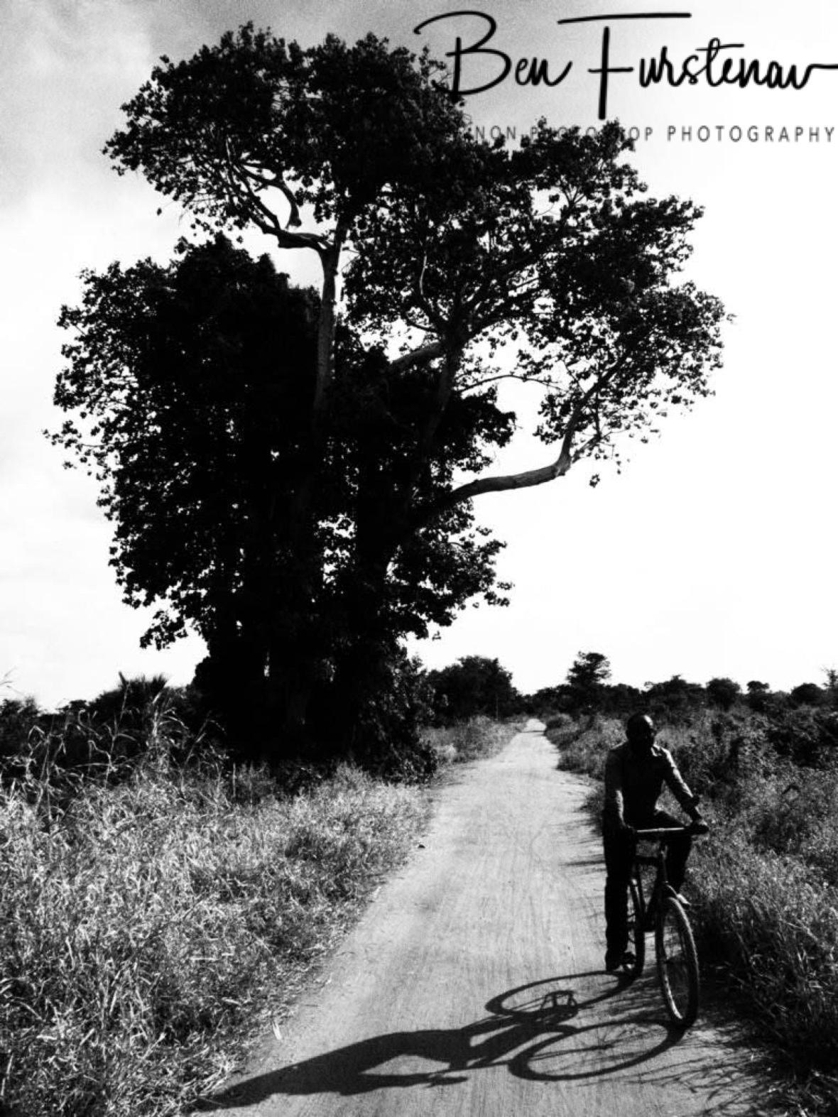 A lone cyclist on a dusty road, near Liwonde National Park, Malawi