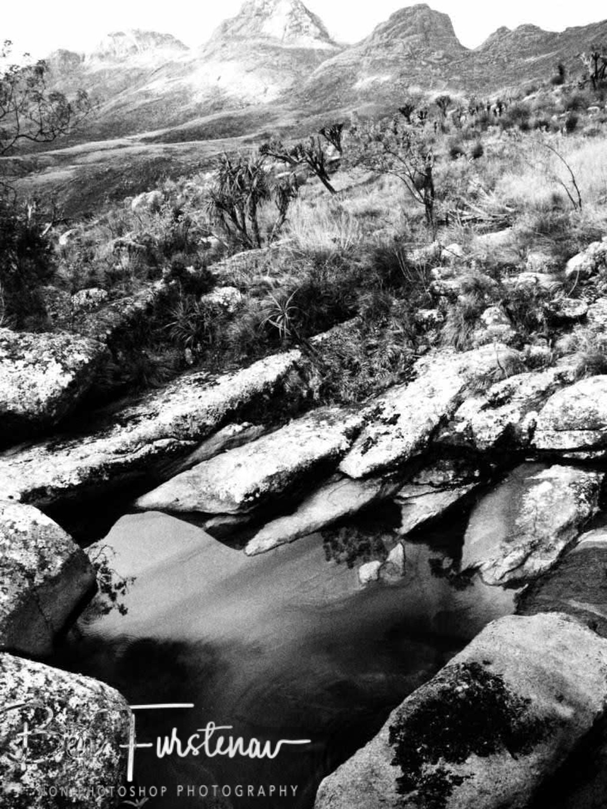 Creek and Mulanje Mountains in Black and white, Malawi