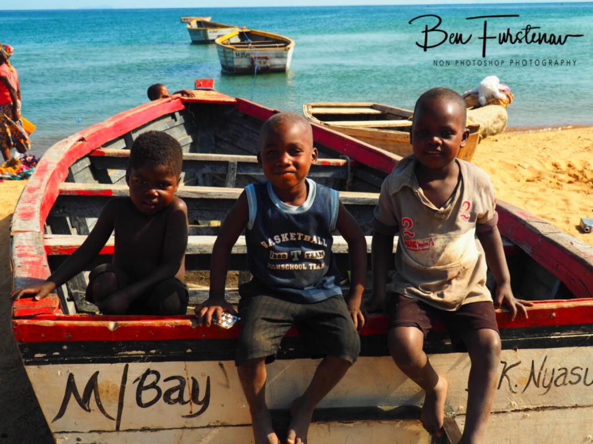Monkeys on a boat, Chembe, Cape Maclear, Lake Malawi, Malawi