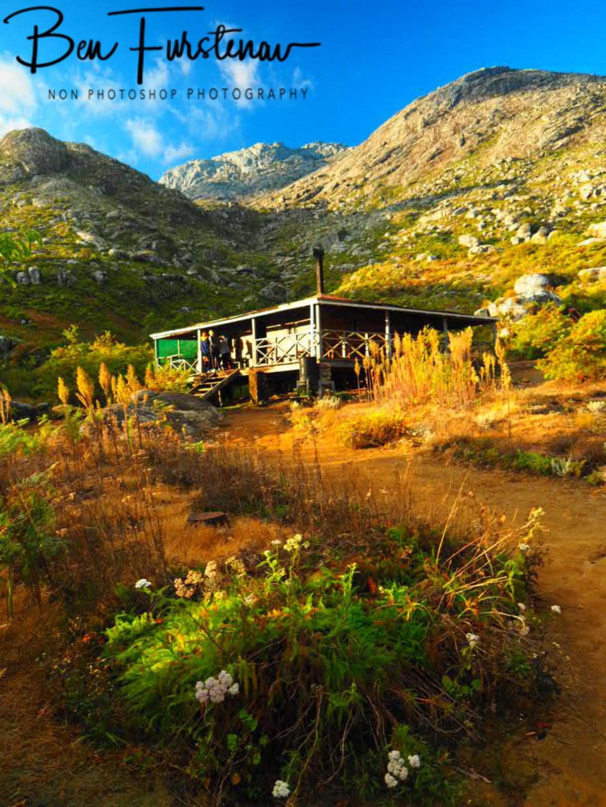 Chisepo Hut with Mountain backdrop, Mulanje Mountains, Malawi