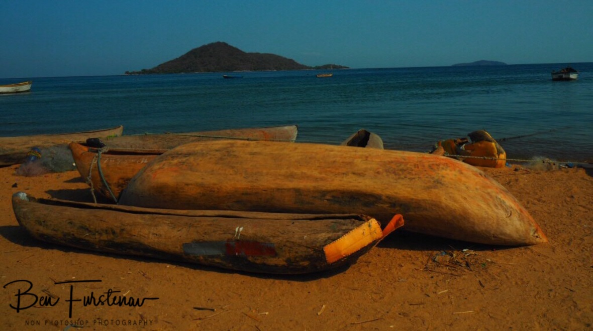 Banana boat on dry land, Chembe, Cape Maclear, Lake Malawi, Malawi