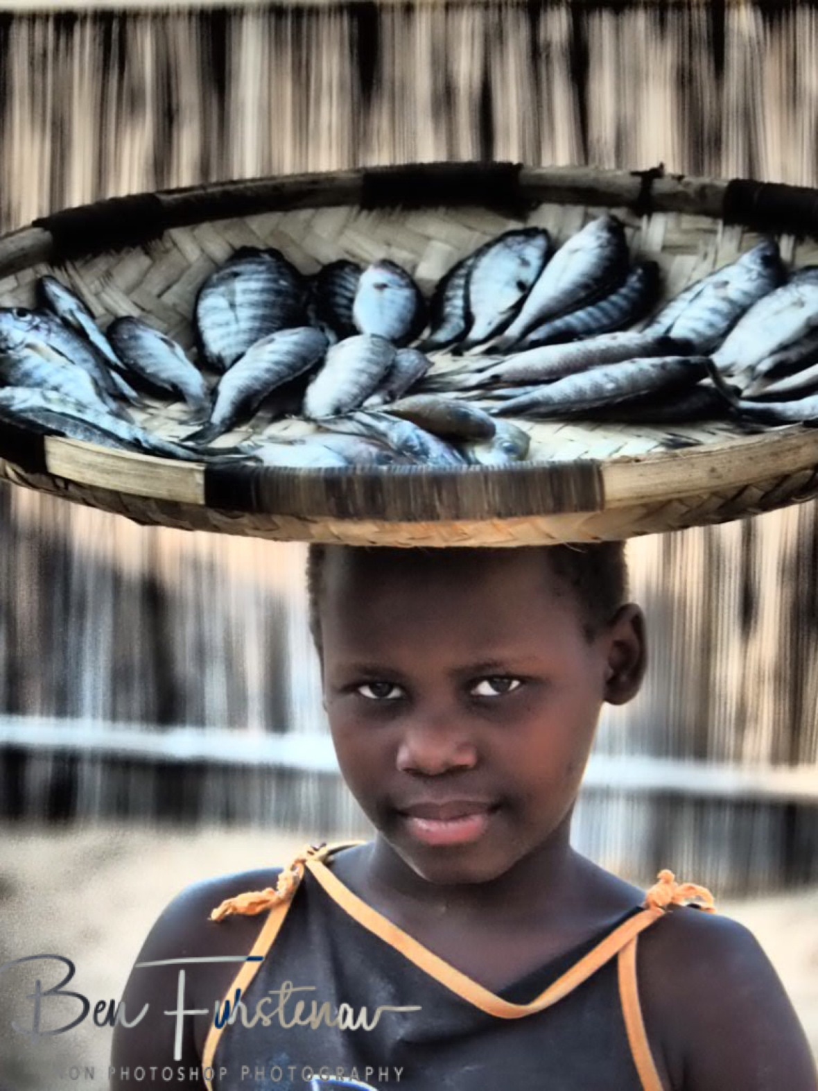 Selling small fish in Chembe, Cape Maclear, Lake Malawi, Malawi
