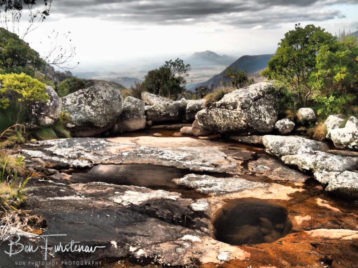 Creek and valley below, Mulanje Mountains, Malawi