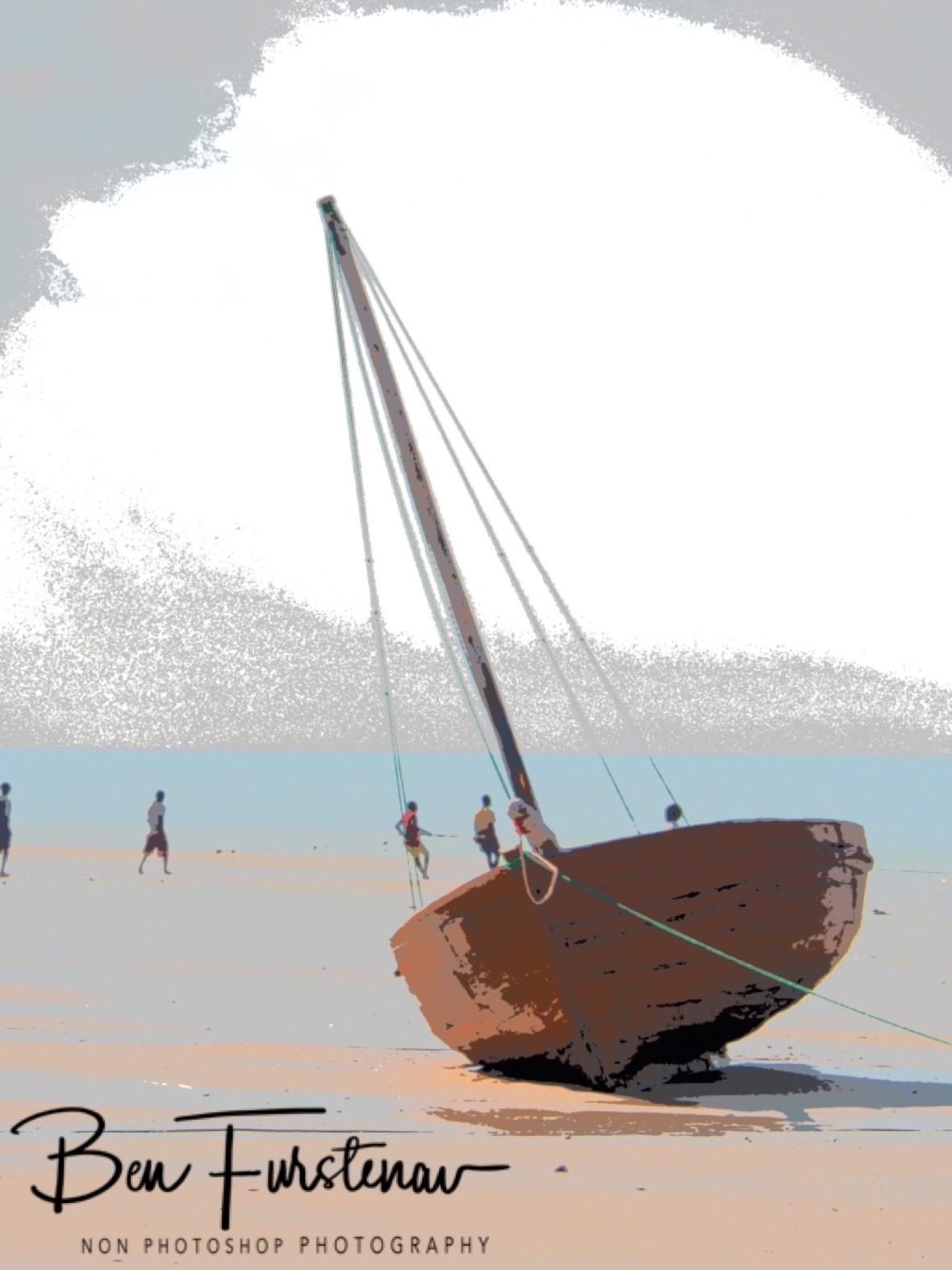 Fishermen and dhow painting, Vilankulo, Mozambique
