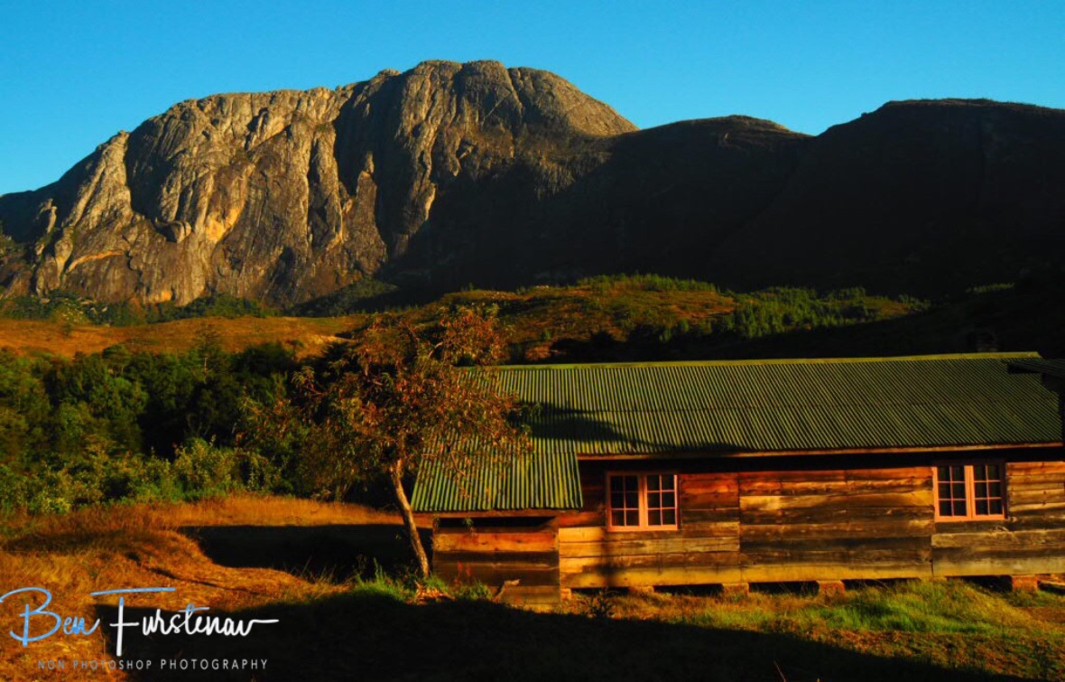 Chambe Hut in front of Chambe Mountain, Mulanje Mountains, Malawi