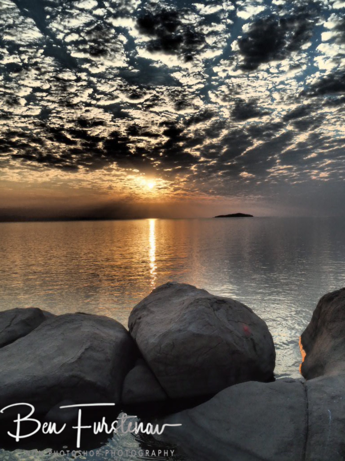 Smooth boulders at sunset at Otter Point, Cape MaClear, Lake Malawi, Malawi