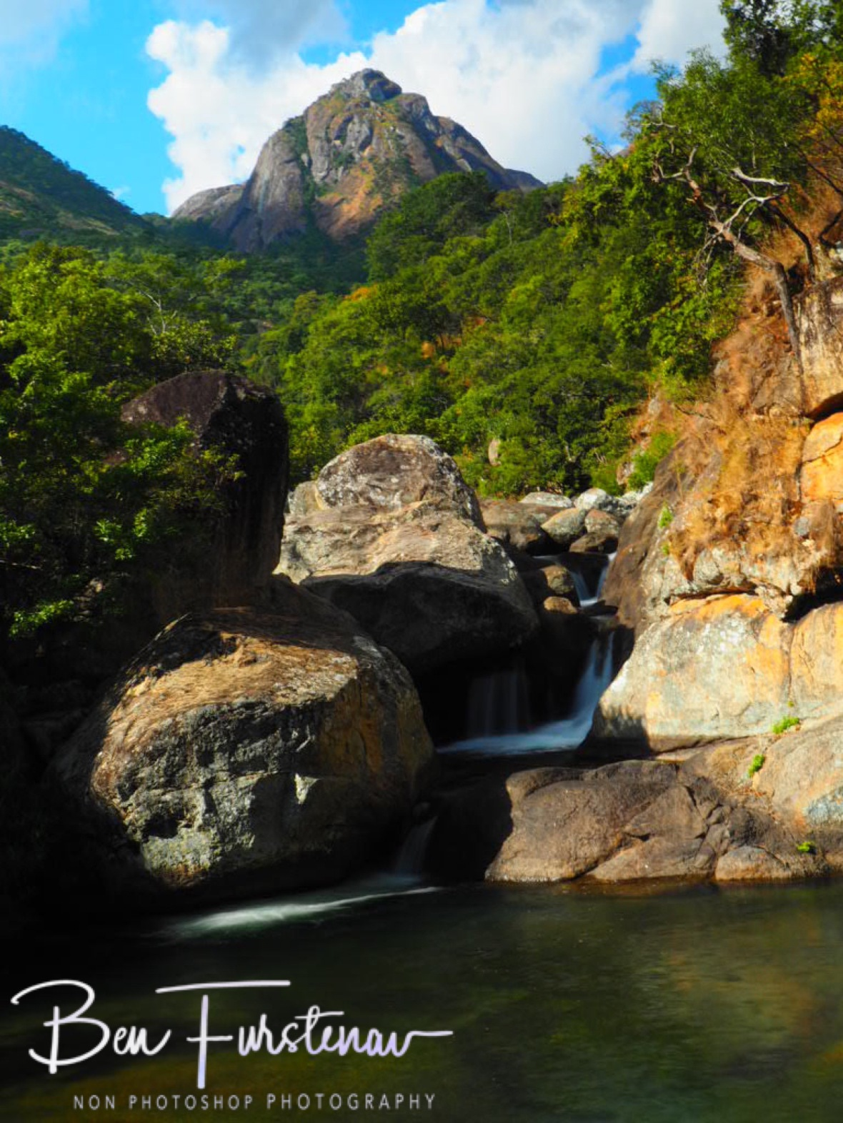 Dramatic view over cascades and mountains, Mulanje Mountains, Malawi