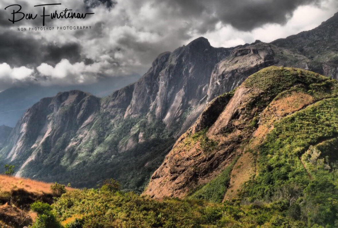 Looking towards Mt. Sapitwa covered in clouds, Mulanje Mountains, Malawi