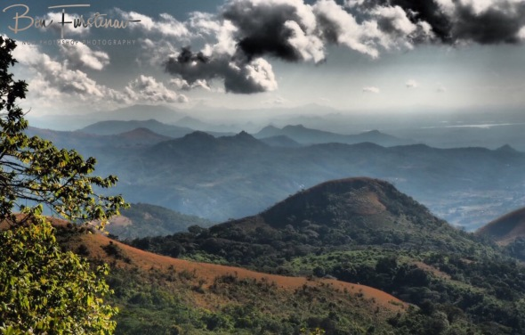 View over the mountains over to lake Chicamba, Mount Tsetserra, Chimanimani Mountains, Mozambique