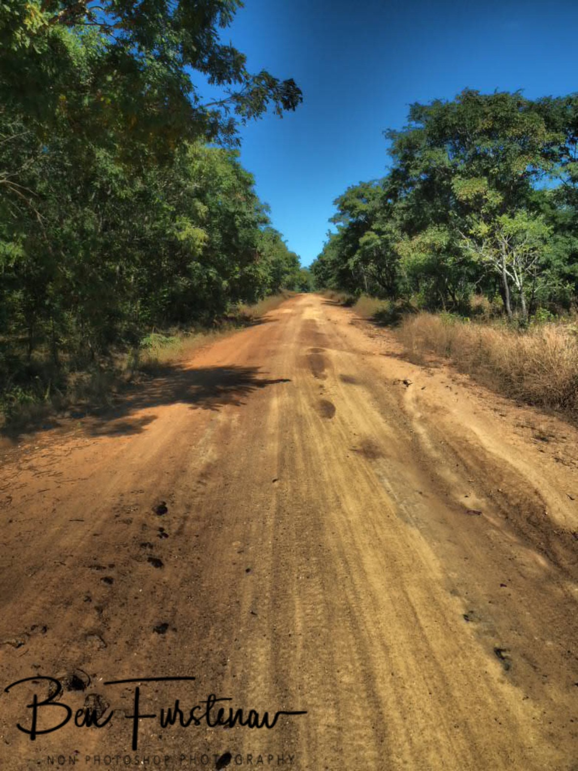 Extremely dusty dirt tracks leading to the Chimanimani Mountains, Mozambique