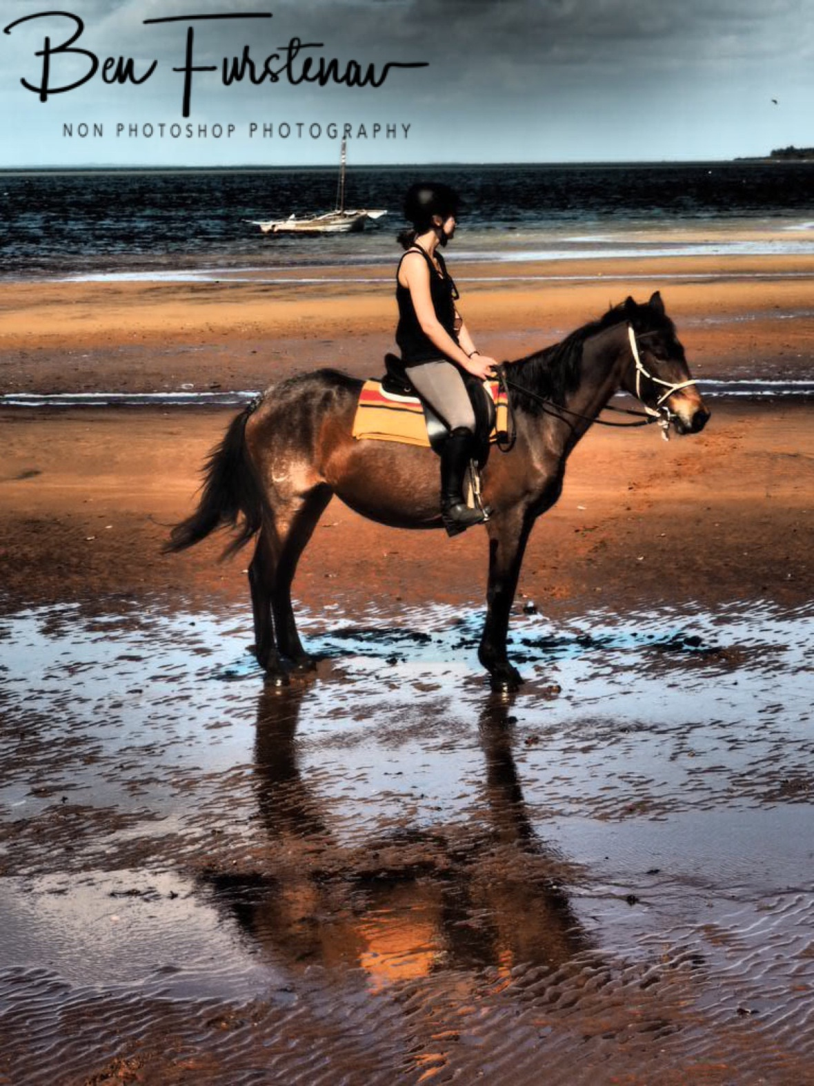 Horse and rider reflections, Vilankulo, Mozambique