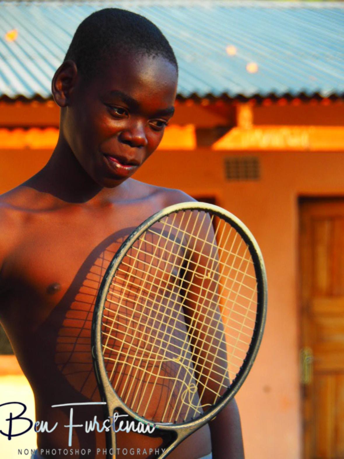 Shy tennis partner, Chembe, Cape Maclear, Lake Malawi, Malawi