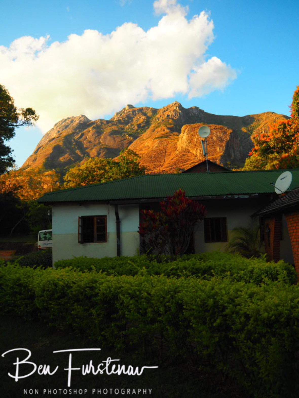 CCAP Mission with Mulanje Mountains backdrop, Malawi