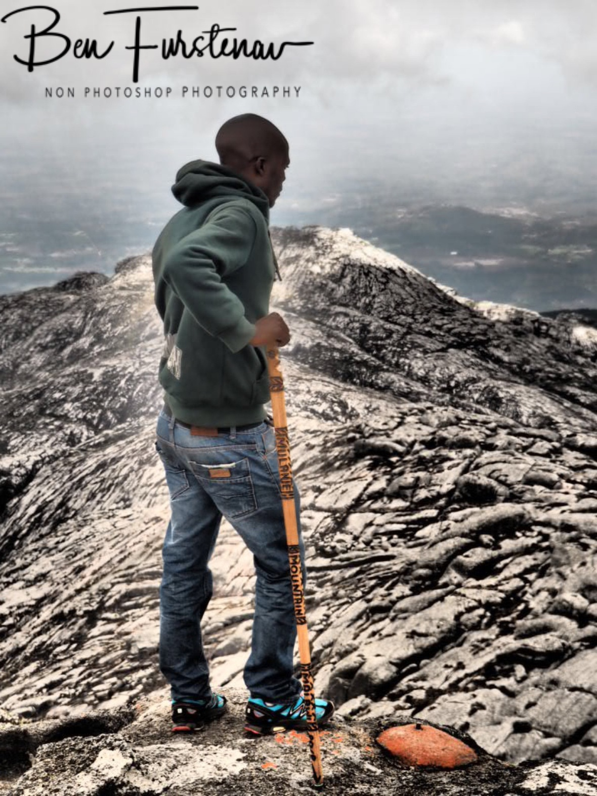 Nenani with magic stick, Mulanje Mountains, Malawi