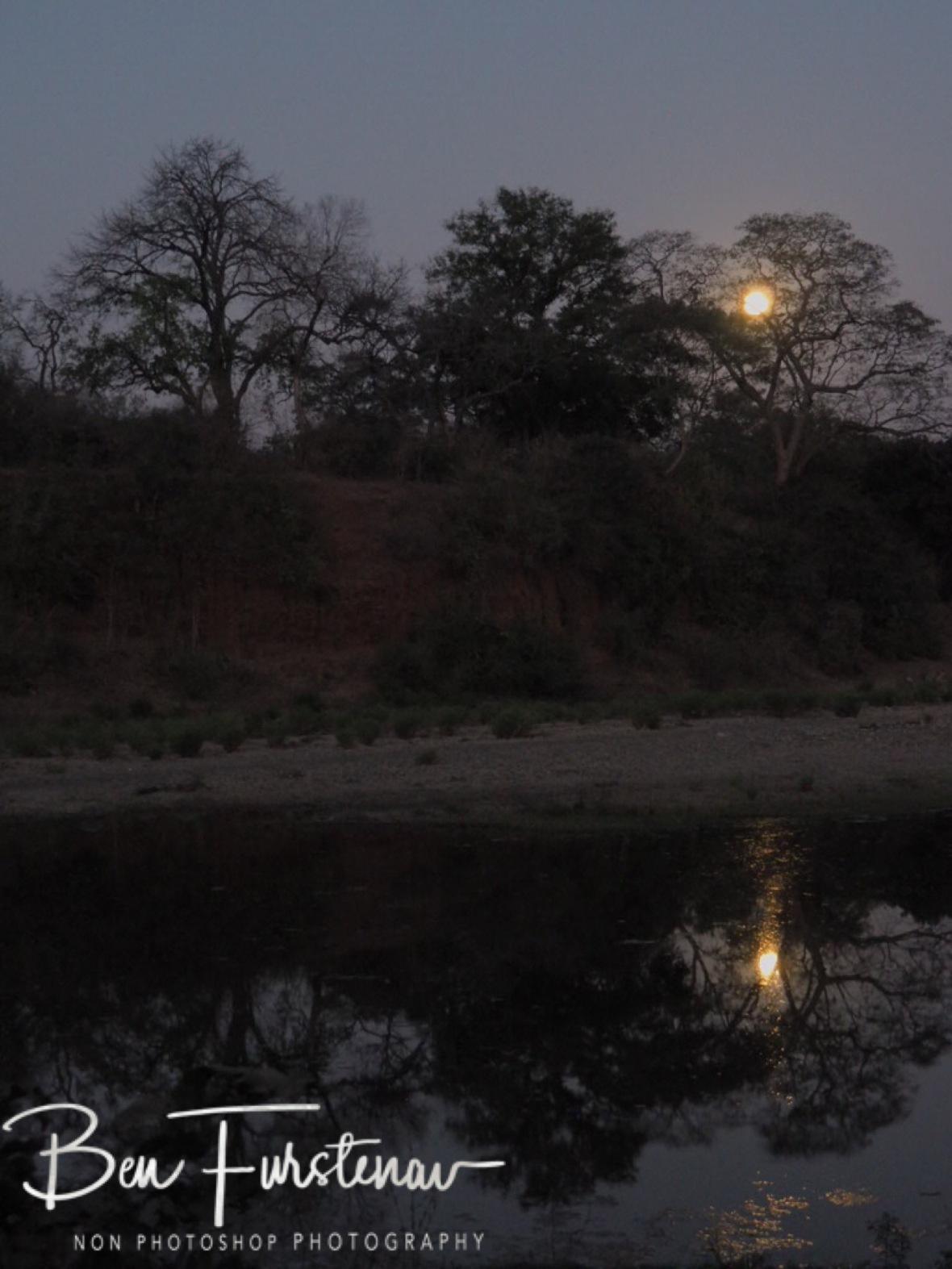 Full moon rise over Chongwe River, Lower Zambezi National Park, Zambia