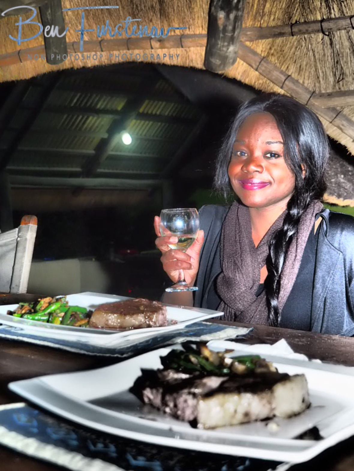 Dinner is served with a good glass off wine, Pioneer Camp, Lusaka, Zambia
