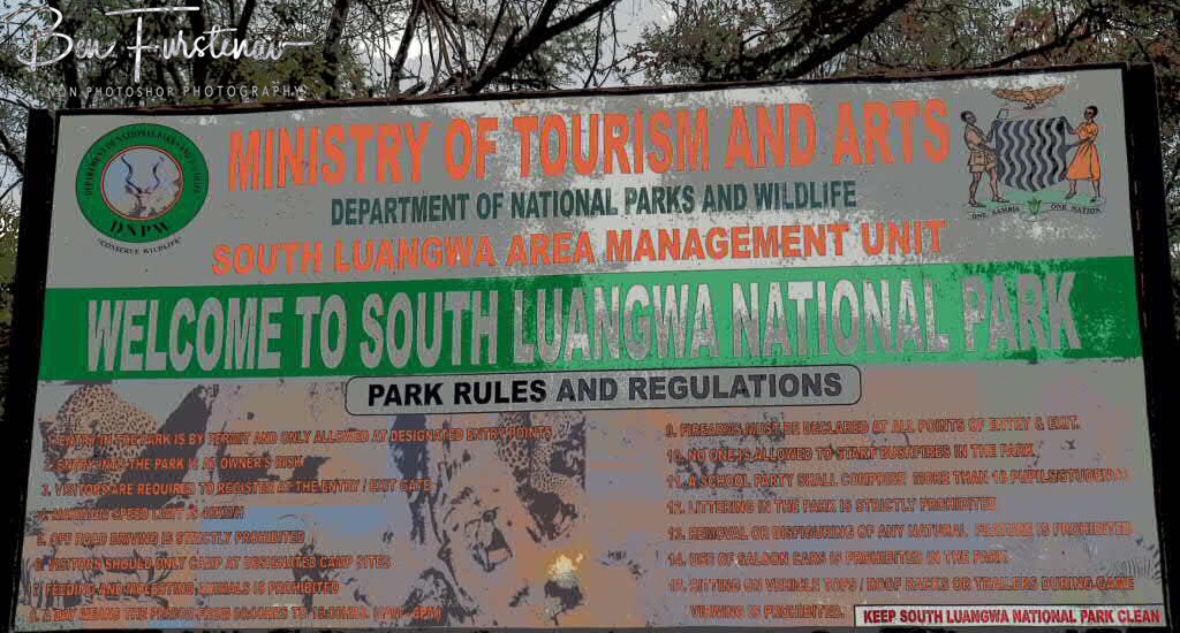 Entrance and park rules at South Luangwa National Park, Zambia