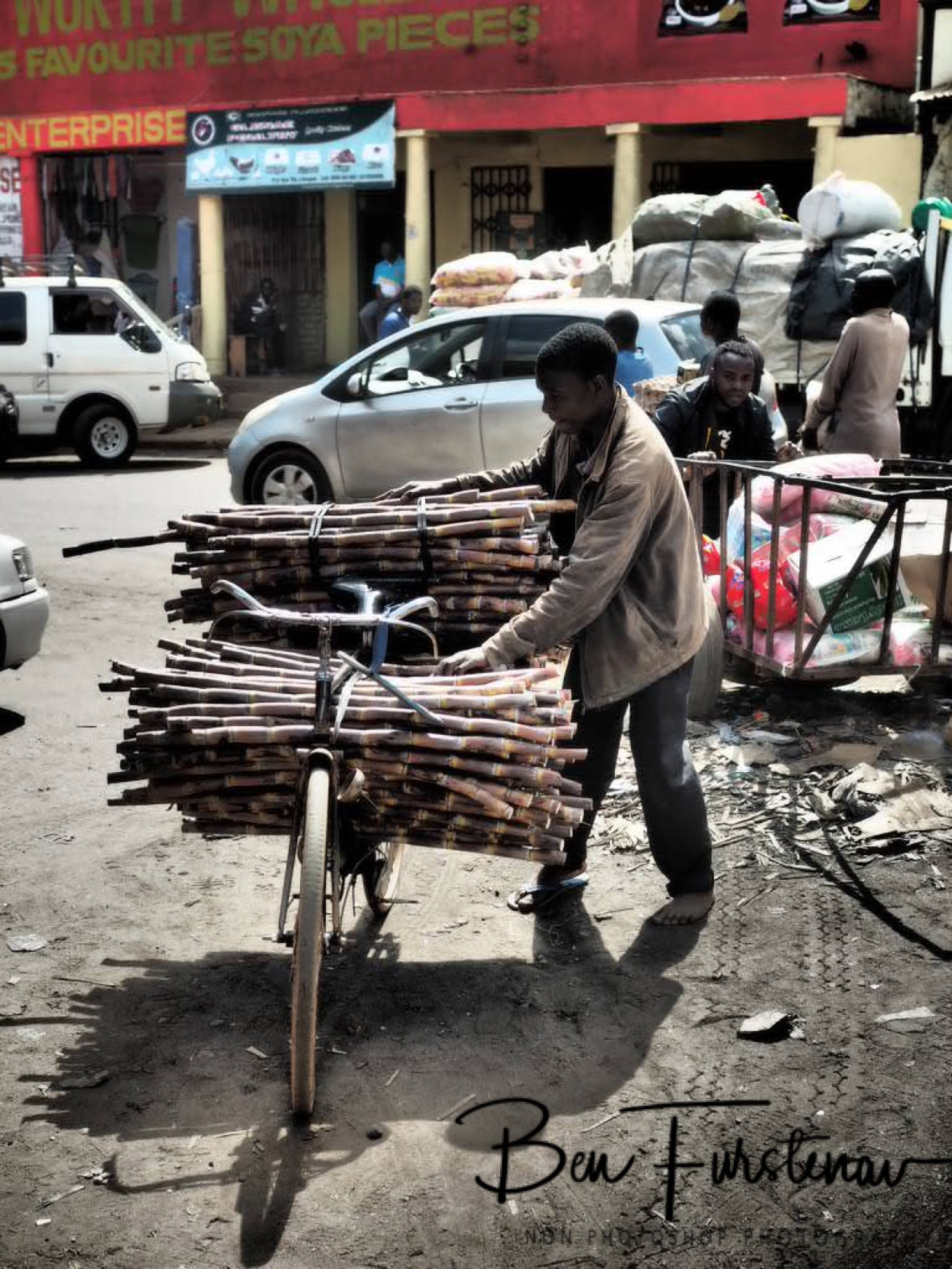 Mobile sugar cane shop, Lilongwe, Malawi