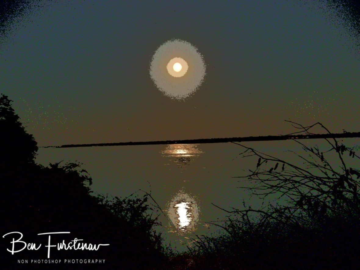 Moonrise over Zambezi River, Lower Zambezi National Park, Zambia