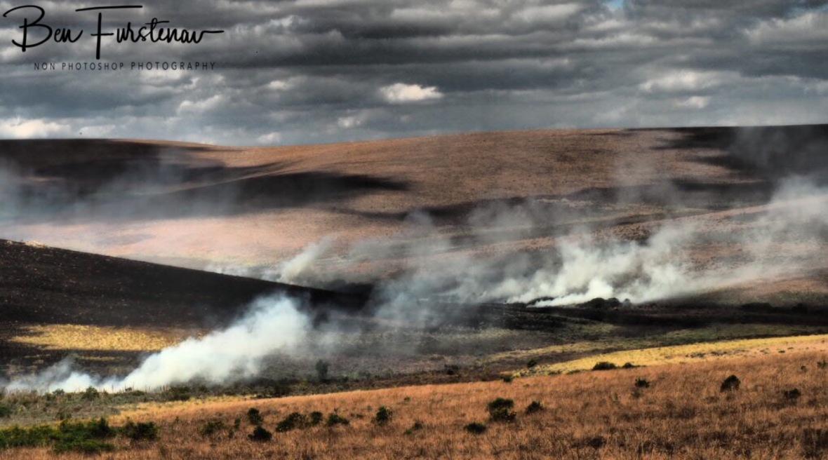 Burn off clouds over Nyika Plateau, Malawi