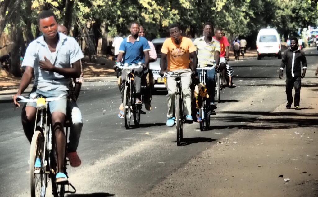 Busy cycle street in Salima, Malawi