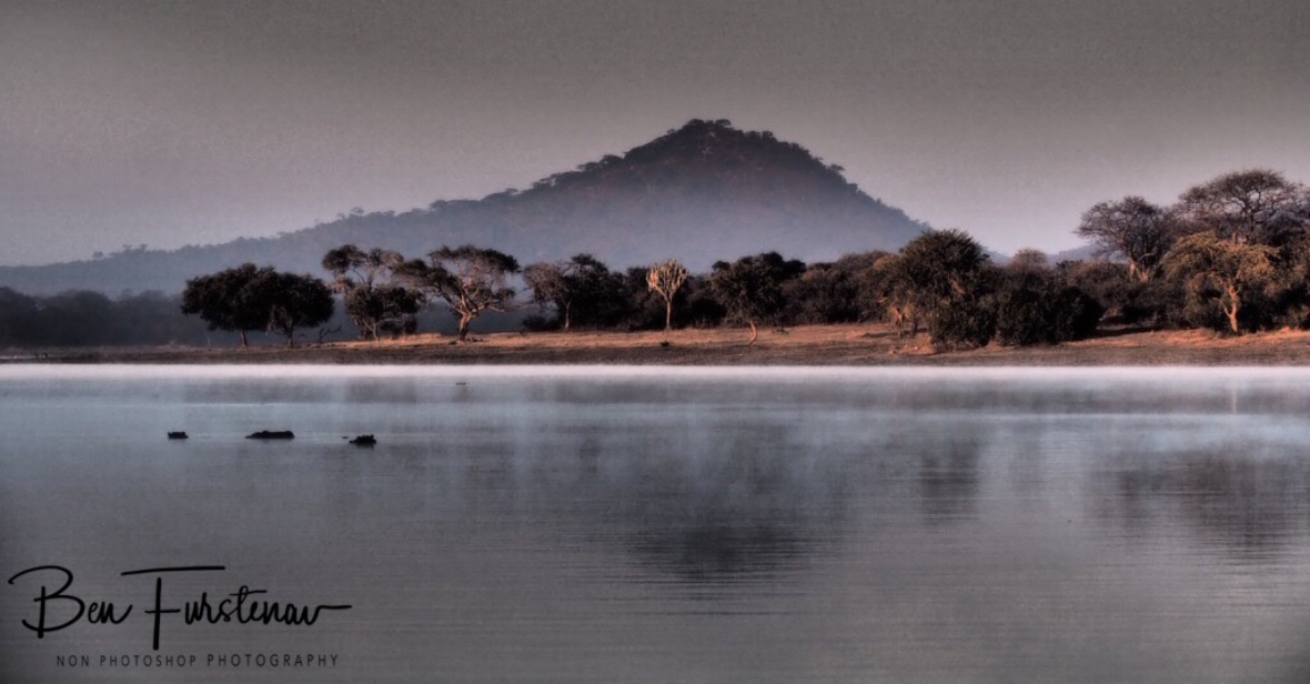 Foggy reflections on Lake Kazuni, Vwaza Marsh National Reserve, Malawi