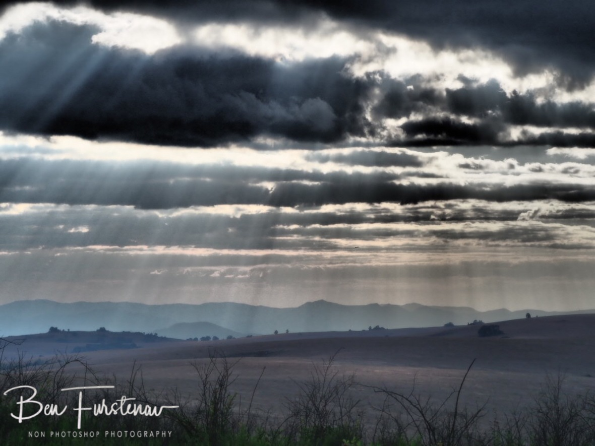 Sunrays through thick clouds at Nyika National Park, Malawi