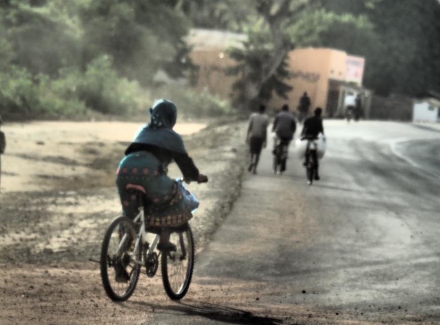Female mountain bike rider at Salima Region, Malawi