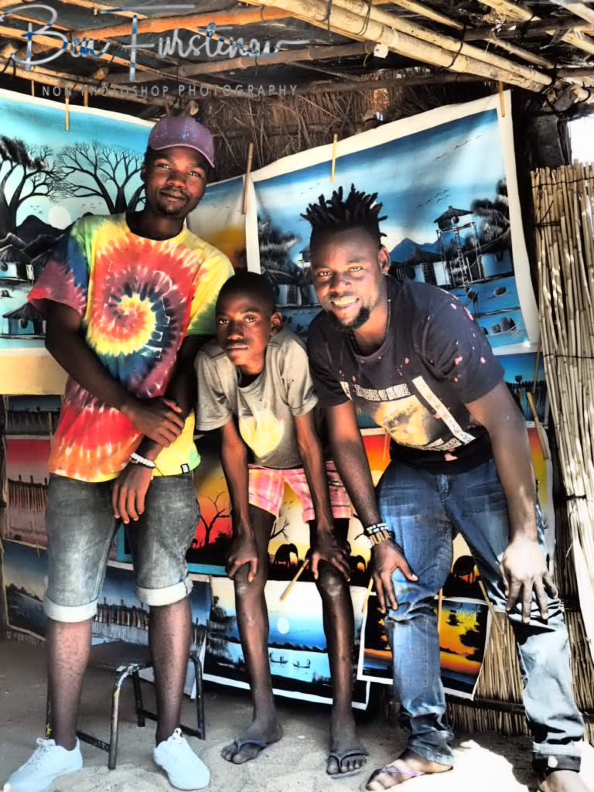 Boston and his painting team in Chembe, Cape Maclear, Lake Malawi, Malawi