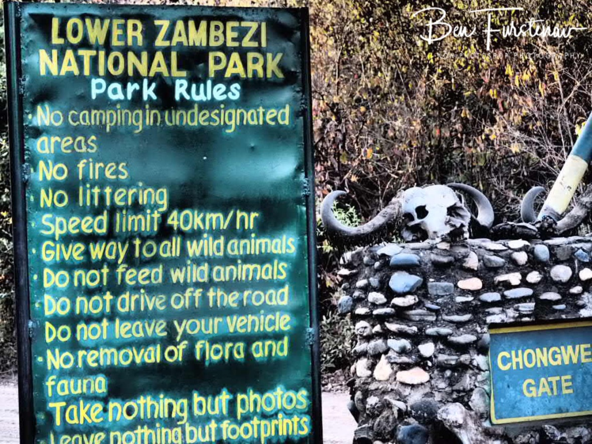 Park rules and warnings, Lower Zambezi National Park, Zambia
