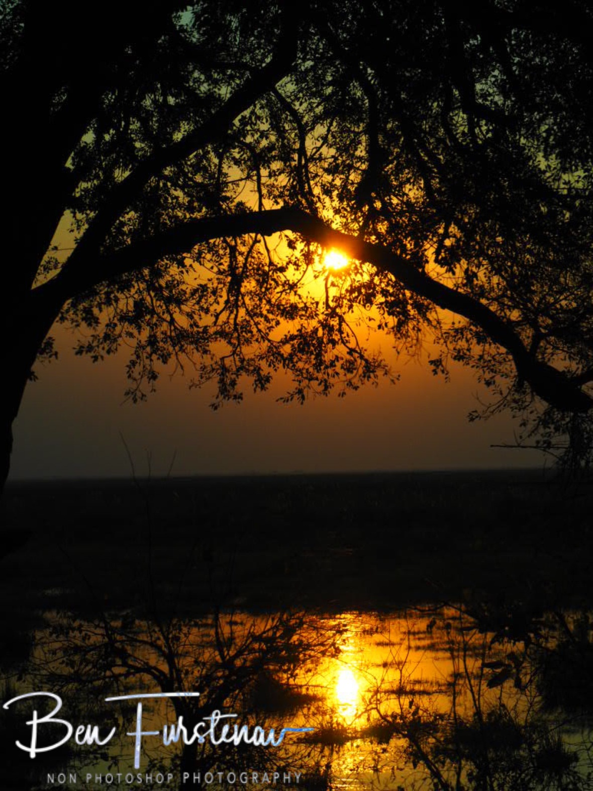 Sunset over Linyanti swamp, Chobe National Park, Okavango Delta, Botswana