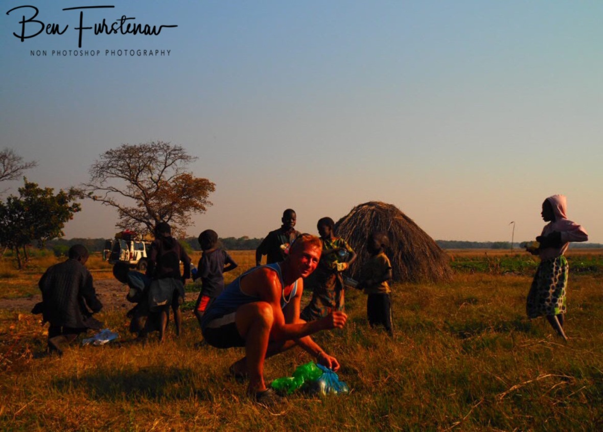 Sharing our excess food, Liuwa Plains National Park, Zambia